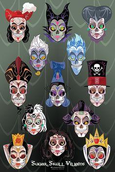 sugar skull art, disney villain tattoo, skull print, skull villain, disney villians sugar skulls, disney sugar skull, queen of hearts disney, poster, disney villains hook