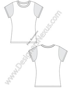 V1 Fitted Free Vector T-Shirt Design Template Sketch - free download of this Adobe Illustrator fashion flat sketch template + More free flats at www.designersnexus.com! #flatsketches #tshirt #t-shirt #fashiondesign #fashiontemplates #vector #fashionsketch