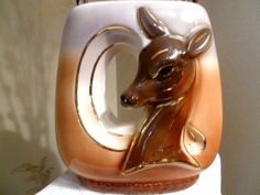Vintage Royal Copley Deer Head Vase,Mid Century Modern Ceramic Art Piece in Shades of Caramel,Dove  Grey and Cocoa Brown