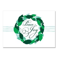 Wreath (Spearmint) - Unique Holiday Card by The Green Kangaroo