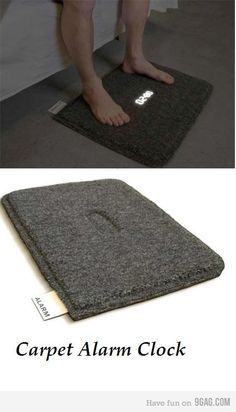 Carpet alarm clock forces you to stand up.