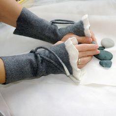 Pretty felt fingerless gloves.
