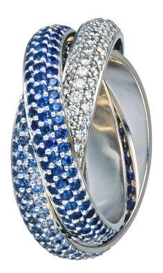 Cartier Trinity Rings with Sapphires & Diamonds