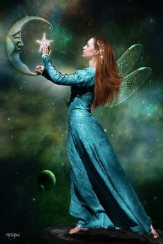 Fairy touches the moon and star.