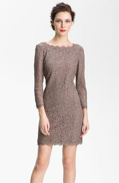 Adrianna Papell Lace Overlay Sheath Dress | Nordstrom     This is the dress we saw in blue, but online they're out of stock except for taupe