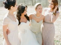bridesmaids in pastel, photo by Adam Barnes http://ruffledblog.com/ralph-lauren-inspired-shoot #bridesmaiddresses
