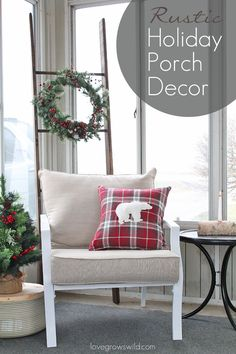 Take a tour of this warm and cozy rustic porch all decorated for the holidays!