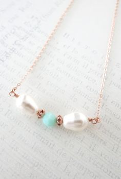 Simple Bow Necklace with Mint Bead and Teardrop Pearl Rose Gold necklace - rose gold filled, strand of Mint Green Swarovski Beads, mint, www.colormemissy.com