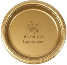 Personalized Autumn Leaf Plastic Plates