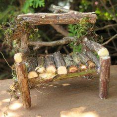 Garden Fairy Houses Twigs | MINIATURE fairy garden LOVESEAT twig garden bench by CLOUDFAIRY