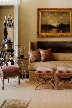 Suzanne Kasler  I own this Marge Carson Sofa in an Ivory Textured Fabric...Love all of the Pillows that came with it!