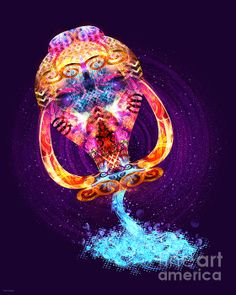 ZODIAC ART - Aquarius - Zodiac Lightburst Print by ©ifourdezign - Available to buy #Prints #Posters #Redbubble #FineArtAmerica #Zodiac #Astrology #Starsigns #Aquarius #TheWaterBearer #Fractal #Abstract #DigitalArt  (Please retain ALL credit -TY)