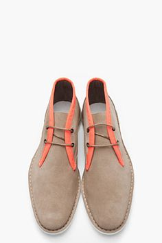 PIERRE HARDY - Taupe Suede Neon-Trimmed Mid-Top 406 Derbys $460