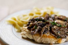 Skinless, boneless chicken breasts with a creamy mushroom sauce with vermouth, cream, and sage.