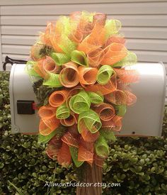 Deco Mesh Swag Wreath used as a Mailbox  Cover, by AllMonthsDecor