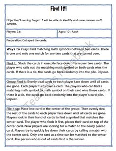 Find It: Math Symbols  from SHteacher on TeachersNotebook.com -  (6 pages)  - Perfect for math stations. Middle school students turn over 2 cards and see who can find and name the matching math symbol first. A key for the symbols is included.