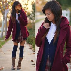 Charlotte Russe Burgundy Winter Coat, Forever 21 Collared Top, Forever 21 Navy Blue Basic Cardigan, Unif Plaid Dungarees, Forever 21 Navy Blue Over The Knee Socks, Soda Leather Lace Up Combat Boots