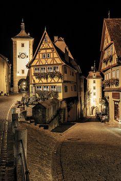 Medieval Plonlein, Germany at night
