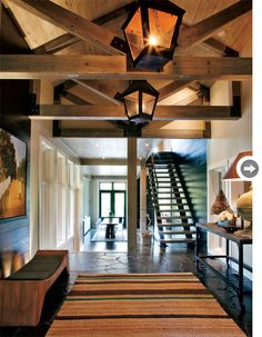 Love the wooden beam ceiling and beams. Rustic Homes. Style at Home
