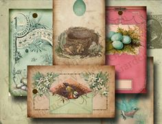 Vintage Easter Eggs Hang TagsDigital Collage by EphemerasGarden, $4.00