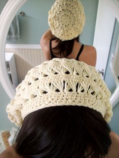 Broomstick lace beret.
