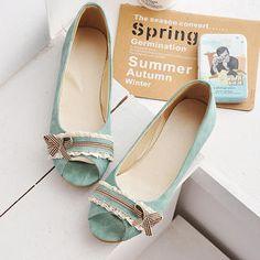 Bow-Accent Peep-Toe Flats peepto shoe, footwear, peepto flat