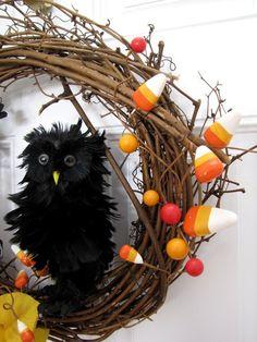 halloween DIY wreaths ideas decor, craft, diy wreath, front doors, owl, wreath idea, fall wreaths, halloween wreaths, halloween diy