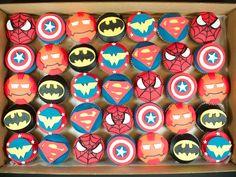 Superhero Cupcakes cupcak super, birthday parti, cupcakes super heroes, news, cupcakes superheros, superheroe cupcakes, cupcake superhero, superhero cupcakes, birthday ideas