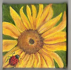 Sunflower painting Original  with lady bug  by SharonFosterArt, $22.00