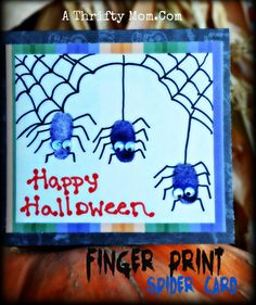Finger print halloween card, quick and easy but oh so cute #Halloween #EasyHalloweenCard #Spiders