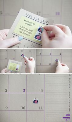 DIY Wedding Instagram Save-the-Date Invitations.  Print mini sticker pictures using Printstagram, include them on the invitation so your guests can mark their calendars!  Such a cute idea!