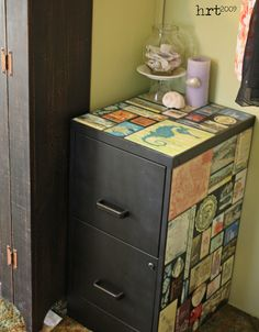 Postcard covered file cabinet