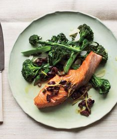 Get the recipe for Salmon With Olive Relish and Broccolini .