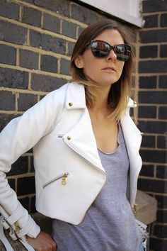 Jennifer in white leather c/o The Style Crusader