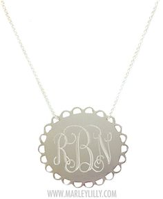 Monogrammed Sterling Silver Scallop Necklace