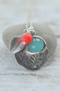 Sweet Simplicity Silver Tree Pendant and Turquoise