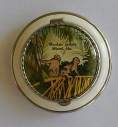Monkey Jungle Miami Florida Vintage Souvenir Compact