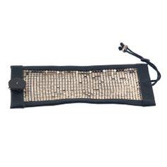 Orduna design leather and mirrored mesh bracelet