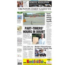 The front page of the Taunton Daily Gazette for Friday, Aug. 8, 2014.