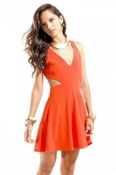 Open Back Racerback Knee Length Dress in Orange #fashion#dress  shopakira.com