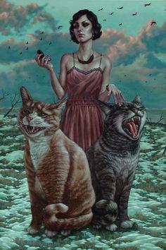 #illustration #Woman #Cats