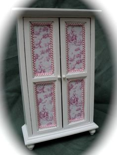 Dolls House Miniatures  Wardrobe with pink by LittleHouseAtPriory, $30.00