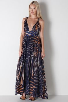 vintage cavali>> Vintage Roberto Cavali Maxi Dress in Watercolor Print by JAR for $1,500.00
