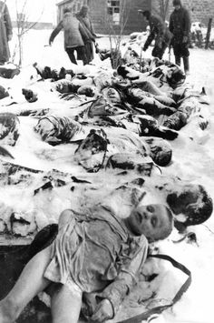 Bodies of Soviet civilians slaughtered by the Germans in the village of Bagerovo near the coastal city of Kerch in the Crimea, winter 1942.