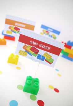 Lego Inspired Birthday DIY Place Card Holder with bricks!!
