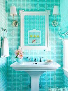A bold blue bathroom.