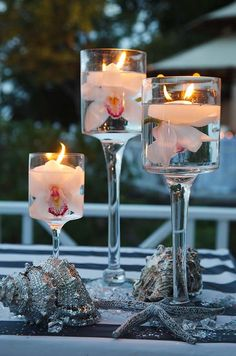 floating candle with flower