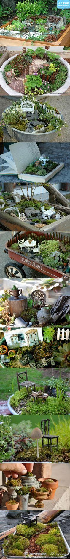 fairy gardens tiny gardens, garden ideas, miniatur garden, fairi garden, miniature gardens, little gardens, fairy houses, mini gardens, miniature fairy gardens