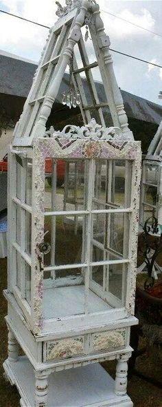 Vintage windows into curio cabinet