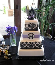 black blue and purple wedding, idea, black weddings, cake inspir, elegant cakes, monogram, purple flowers, art cakes, purple wedding cakes